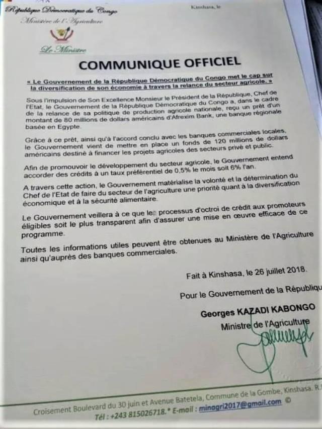 Communiqué officiel Min Agri 26 juillet 2018